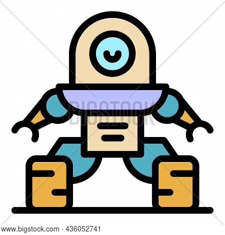 Fantasy Robot Icon. Outline Fantasy Robot Vector Icon Color Flat Isolated