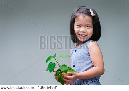 Child And Small Tree In The Nature Coconut Shell Pot. Sweet Smile Girl. Save World. Environment Day.