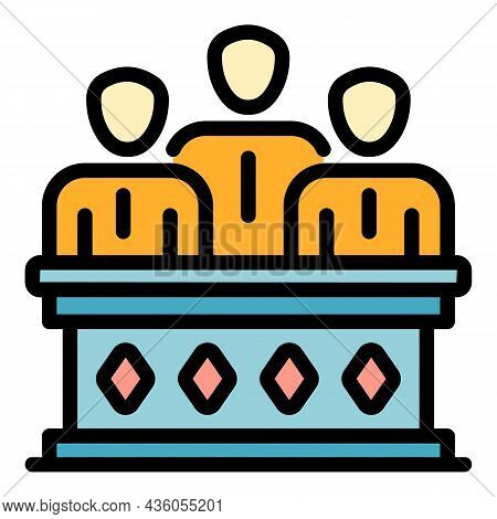 Judiciary Icon. Outline Judiciary Vector Icon Color Flat Isolated