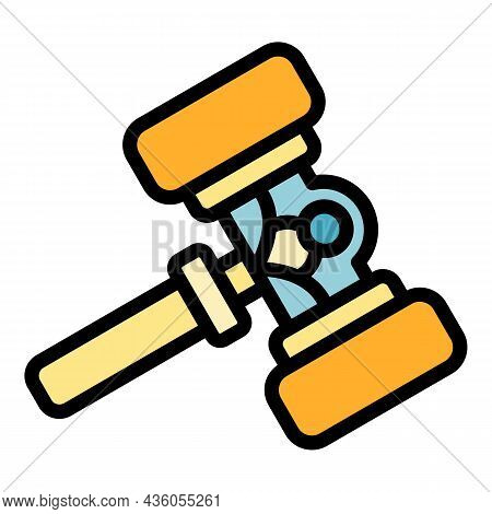 Wooden Judicial Gavel Icon. Outline Wooden Judicial Gavel Vector Icon Color Flat Isolated