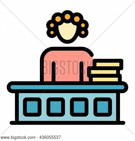 Judge In A Wig Icon. Outline Judge In A Wig Vector Icon Color Flat Isolated
