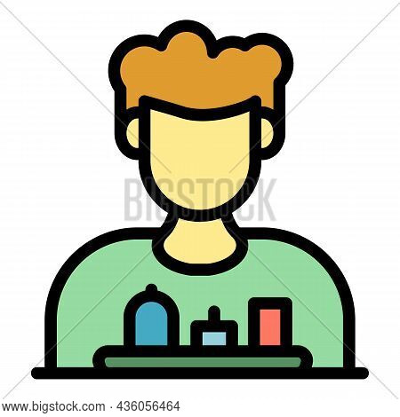 Guy And Medication Icon. Outline Guy And Medication Vector Icon Color Flat Isolated