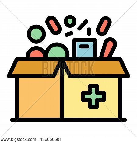 Box For Medications Icon. Outline Box For Medications Vector Icon Color Flat Isolated