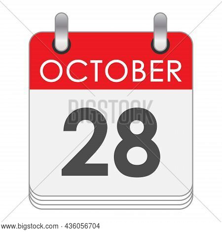 October 28. A Leaf Of The Flip Calendar With The Date Of October 28. Flat Style.