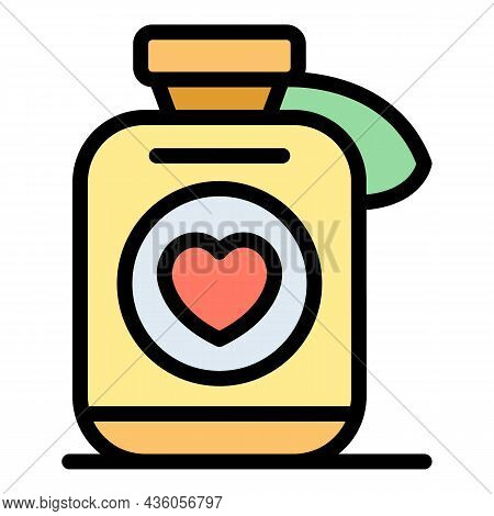 Heart Medication Icon. Outline Heart Medication Vector Icon Color Flat Isolated