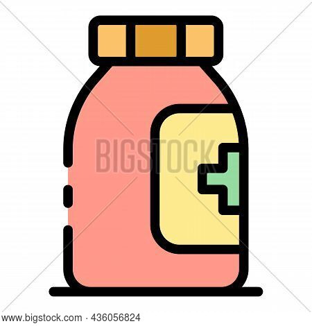Bottle Of Aspirin Icon. Outline Bottle Of Aspirin Vector Icon Color Flat Isolated