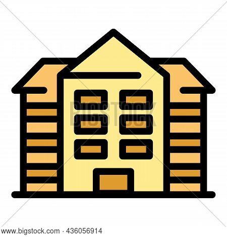 Hospital Building Icon. Outline Hospital Building Vector Icon Color Flat Isolated
