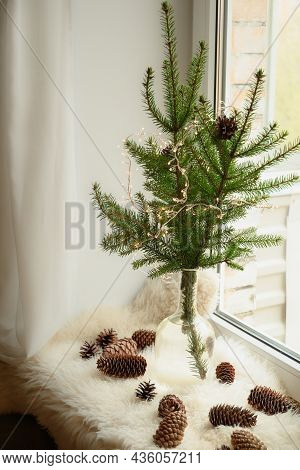 Alternative Christmas Tree Of Natural Branches In Vase On Windowsill. Cozy Weekend.
