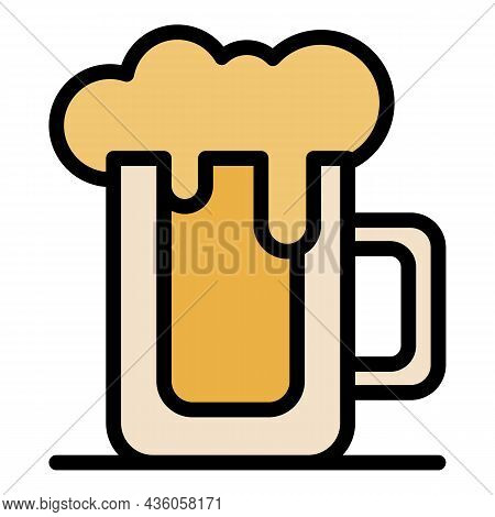Full Beer Mug Icon. Outline Full Beer Mug Vector Icon Color Flat Isolated