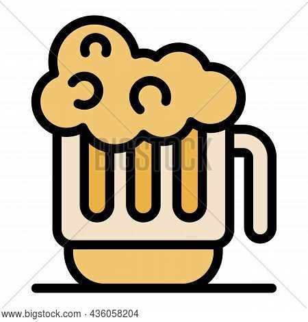 Mug Of Cold Beer Icon. Outline Mug Of Cold Beer Vector Icon Color Flat Isolated