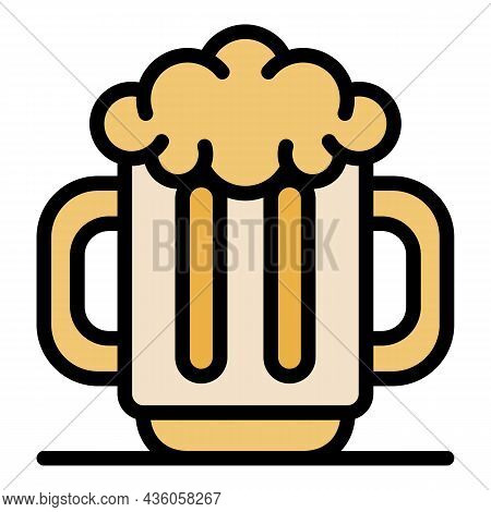 Men Beer Mug Icon. Outline Men Beer Mug Vector Icon Color Flat Isolated