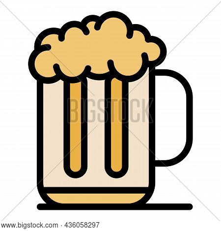Mug Of Beer With Foam Icon. Outline Mug Of Beer With Foam Vector Icon Color Flat Isolated