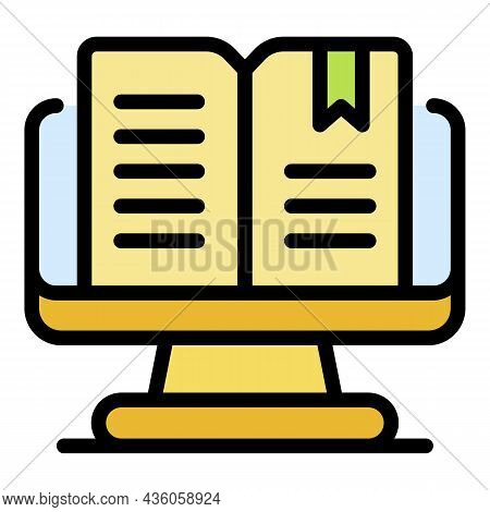 Ebook On The Monitor Icon. Outline Ebook On The Monitor Vector Icon Color Flat Isolated