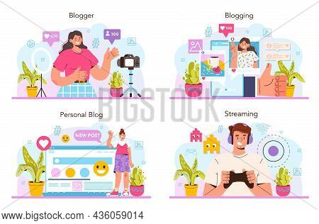 Blogger Concept Set. Character Sharing Media Content In The Internet