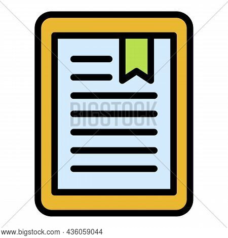 Book In Electronic Reader Icon. Outline Book In Electronic Reader Vector Icon Color Flat Isolated