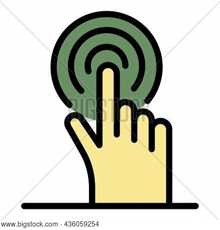 Finger Presses A Button Icon. Outline Finger Presses A Button Vector Icon Color Flat Isolated