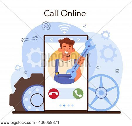 Car Tire Service Online Service Or Platform. Worker Changing A Tire