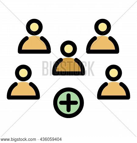 Five Persons And A Plus Sign Icon. Outline Five Persons And A Plus Sign Vector Icon Color Flat Isola