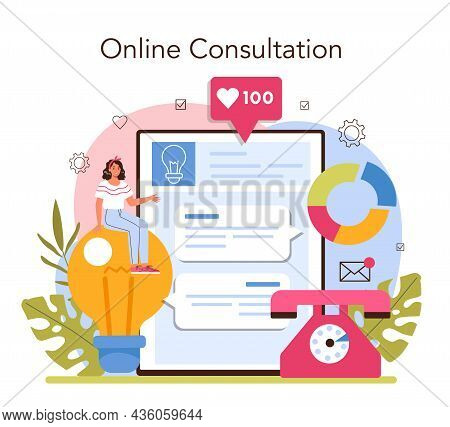 Consultant Online Service Or Platform. Specialist Making Research