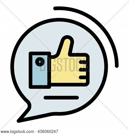 Like In Chat Bubble Icon. Outline Like In Chat Bubble Vector Icon Color Flat Isolated