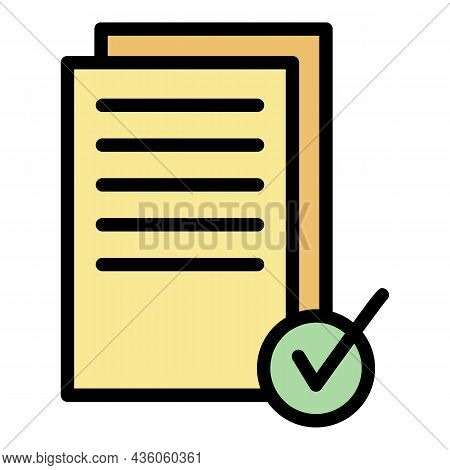 Documents Approved Icon. Outline Documents Approved Vector Icon Color Flat Isolated