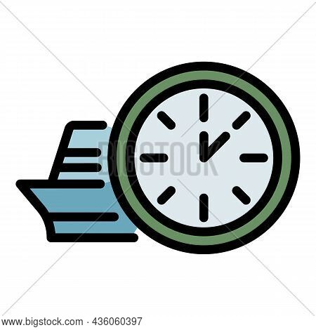 Station Clock Icon. Outline Station Clock Vector Icon Color Flat Isolated