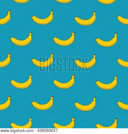 Seamless Pattern Of Yellow Bananas On A Blue Background. Vector. Banana Print. Exotic Illustration