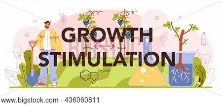 Growth Stimulation Typographic Header. Wine Production. Grape Selection
