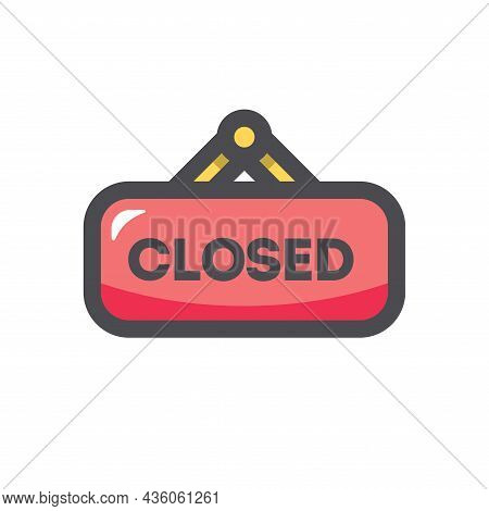 Red Closed Hanging Sign Vector Icon Cartoon Illustration