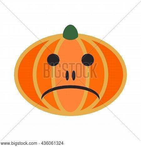 Pumpkin Fruit. Halloween Holiday Main Symbol. Orange Gourd With Sad Grimace For Halloween Design. Fu