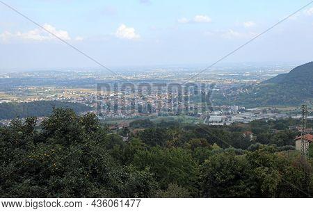 Wide Panorama Of Padan Plain In Italy In The Veneto Region