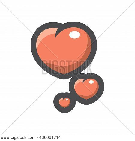 Hearts Likes Simple Vector Icon Cartoon Illustration