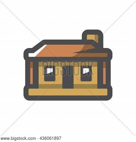 Log Hut Wood House Vector Icon Cartoon Illustration