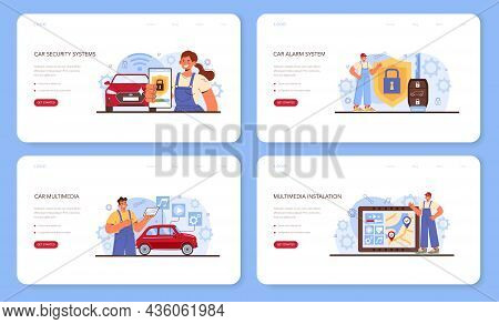 Car Repair Service Web Banner Or Landing Page Set. Automobile Multimedia