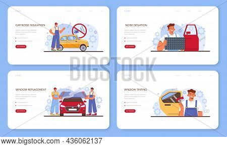 Car Repair Service Web Banner Or Landing Page Set. Automobile Sound