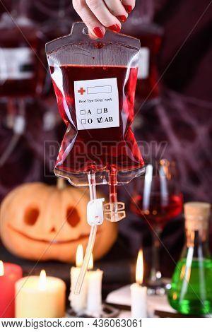 Blood Bag, Original Vampire Halloween Party Cocktail Serving Idea