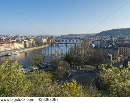Scenic Aerial View Of Prague Old Town Architecture And Charles Bridge Over Vltava River Seen From Le
