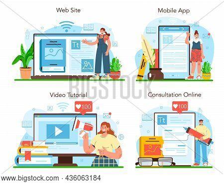 Publisher Online Service Or Platform Set. Editor Working On Book