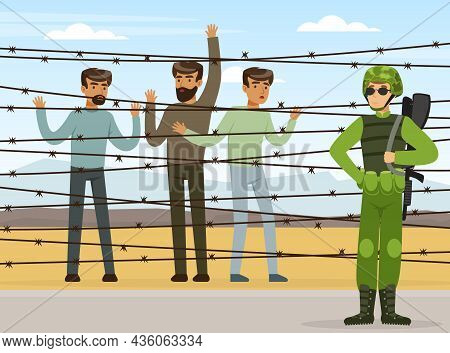 Refugee And Asylum Seeker Behind Iron Wire And Military Armed Force Vector Illustration