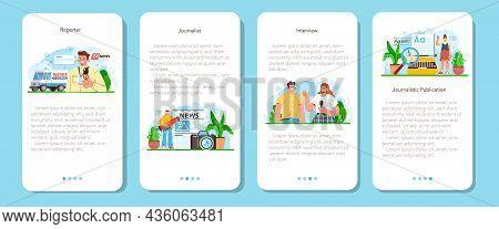 Journalist Mobile Application Banner Set. Newspaper, Internet And Radio