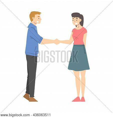 Man And Woman Character Shaking Hand As Brief Greeting Or Parting Tradition Vector Illustration