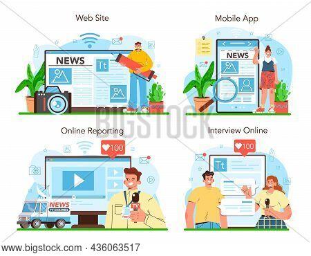 Journalist Online Service Or Platform Set. Newspaper, Internet And Radio