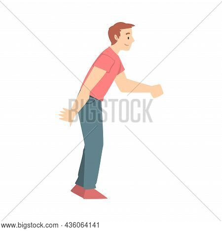 Happy Man Shaking Hand As Brief Greeting Or Parting Tradition Vector Illustration