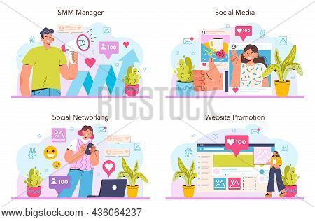 Smm Concept Set. Social Media Marketing, Advertising Of Business