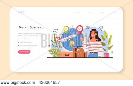 Tourism Specialist Web Banner Or Landing Page. Travel Agent Selling Tour