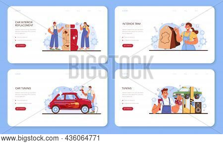 Car Tuning Web Banner Or Landing Page Set. Automobile Interior Got Replaced