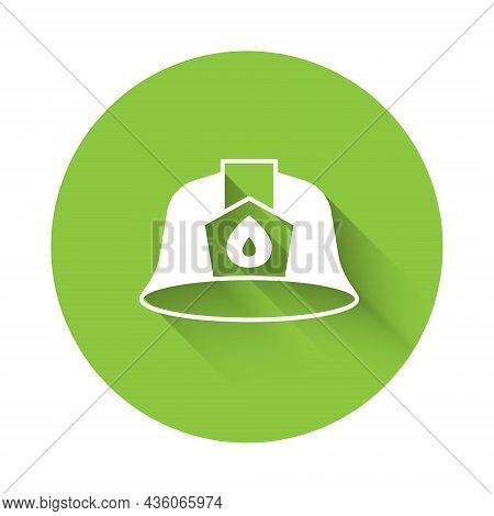 White Firefighter Helmet Or Fireman Hat Icon Isolated With Long Shadow Background. Green Circle Butt