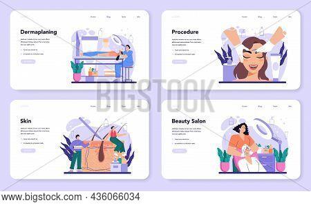 Salon Dermaplaning Procedure Web Banner Or Landing Page Set.