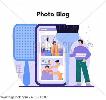 Hairstylist Online Service Or Platform. Idea Of Hairdressing In Salon