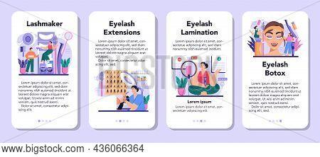 Lashmaker Mobile Application Banner Set. Eyelash Extension, Eyelashes